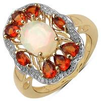 1.84 Carat Genuine Ethiopian Opal and Madeira Citrine Gold Ring