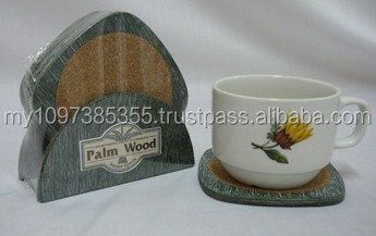 Non-Slip 5 pcs/set Coaster Set with Cork, Made From Palm Wood