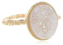 Buy Wholesale 13x11 mm Oval Opal White Drusy Rings only for ladies direct from manufacturing