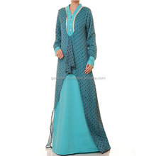 Blue Polkadot High Low Chiffon Silk Long Sleeved Abaya Maxi Dress/Royal Blue Dotted printed beautiful maxi dress wholesale.