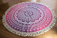 "72"" Indian Hippie Round Pink Ombre Mandala Roundie Throw Tapestry Hippy Boho Gypsy Cotton Tablecloth Beach Towel Throw Yoga Mat"