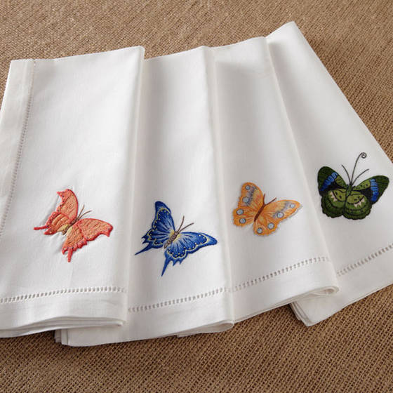 Hand embroidery handkerchief, fabric napkins, silk napkins made in Vietnam