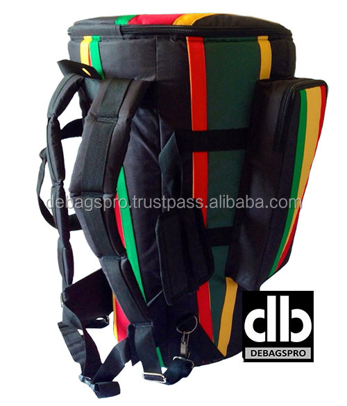 African Djembe Drums Gig bags Nylon Pro Black Red-Yellow-Green Stripe