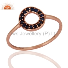 Rose Gold Plated Blue Sapphire Gemstone Ring Handmade Womens Solid Gold Ring Jewelry Manufacturer