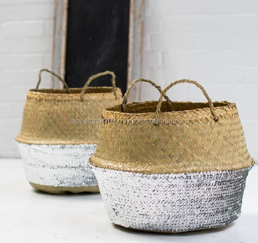 High quality best selling eco-friendly Silver Sequin Dipped Seagrass Basket from Vietnam