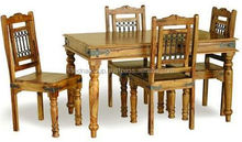 Indian traditional wooden dining table with four chairs