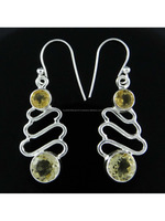 wholesale 925 Sterling silver 925 Sterling Silver Round Citrine Stone Long Drop Dangle Earrings Indian Jewelry