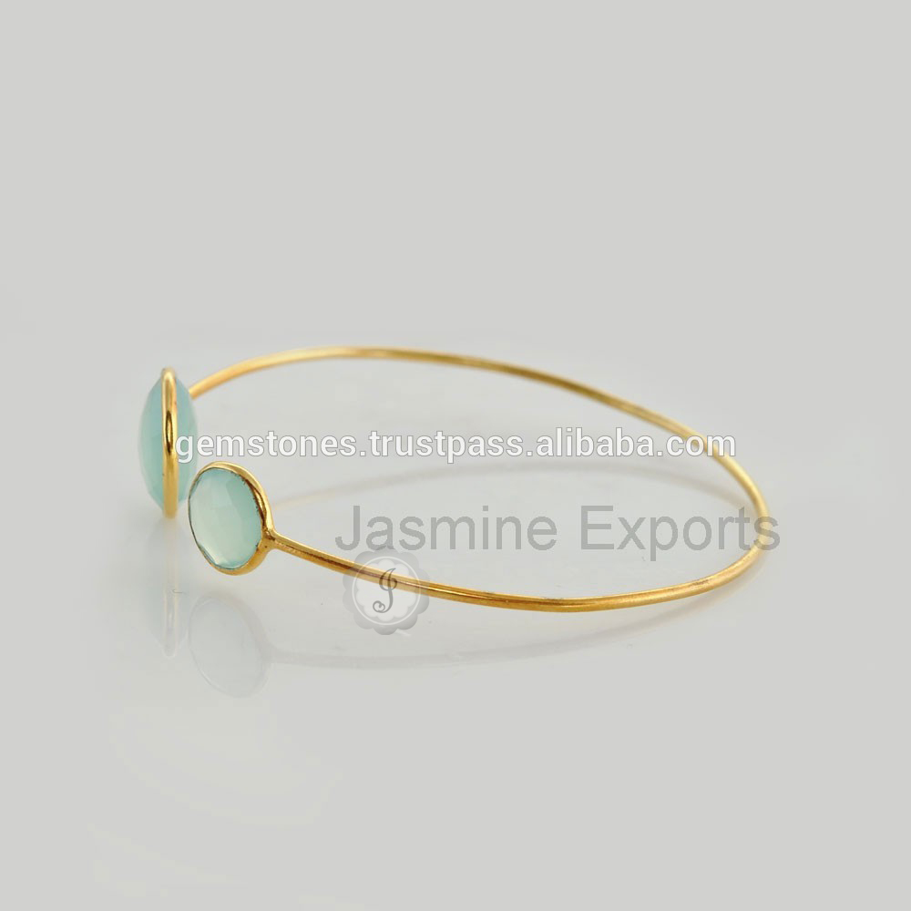 New Model of Chalcedony Gemstone Silver Ladies Fancy Designer Bangles for Christmas