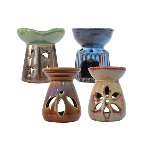 "4"" Oil Burner with 1 Bottle of Oil in Tan Box - Asst #OGA026"