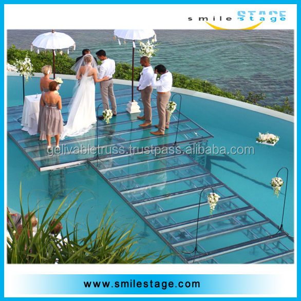 crystal stage wedding decoration plexiglass stage in the water