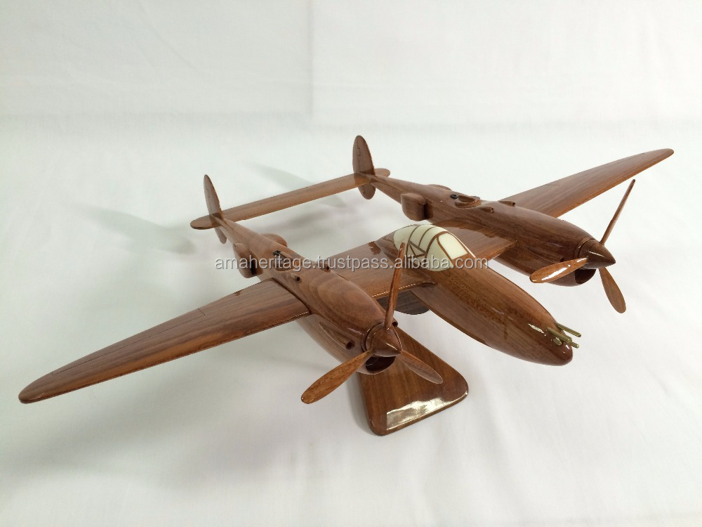 P-38 Lightening Natural Wood Desktop model airplane