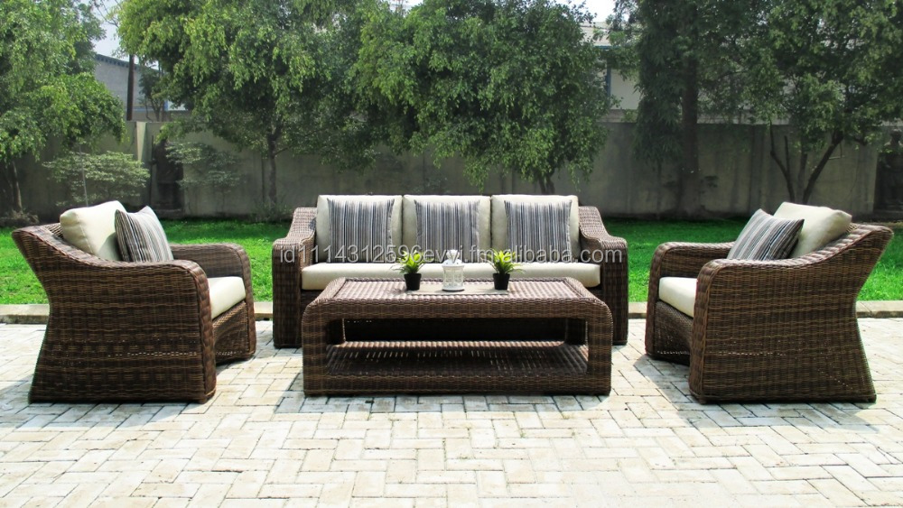 Outdoor Indoor Garden Synthetic Rattan Sofa Furniture Sicily Set (with aluminium frame)
