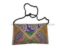 Indian evening Clutch Hand Bag Purse Vintage Hand Embroidery Zari Work Shoulder ethnic Tribal Clutch Messenger cross body bag