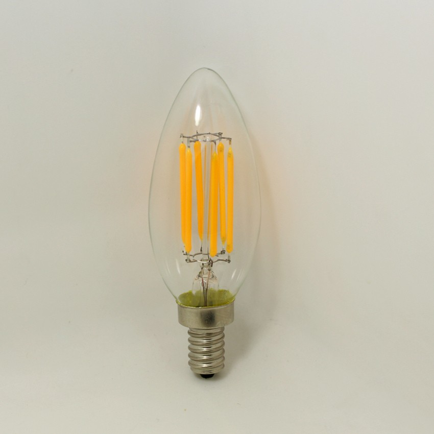 CE RoHs ETL approved 6W Dimmable bulb LED filament light with bullet top E12 E14 base
