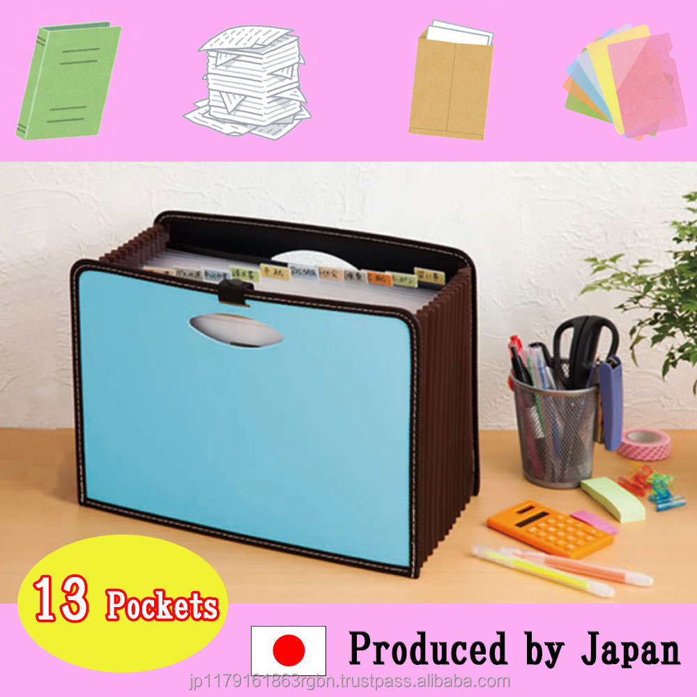High-performance and High-capacity document bag with 12 pieces of colorful indexes produced by Japan