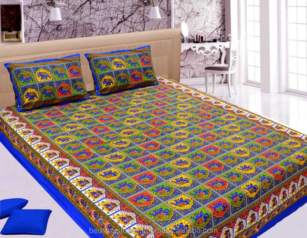Rajasthani print kantha look cotton bed sheets