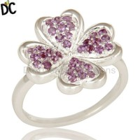 Heart Shape Designer Cocktail Ring Natural Amethyst Gemstone Rings Manufacturer 925 Sterling Fine Jewelry Suppliers