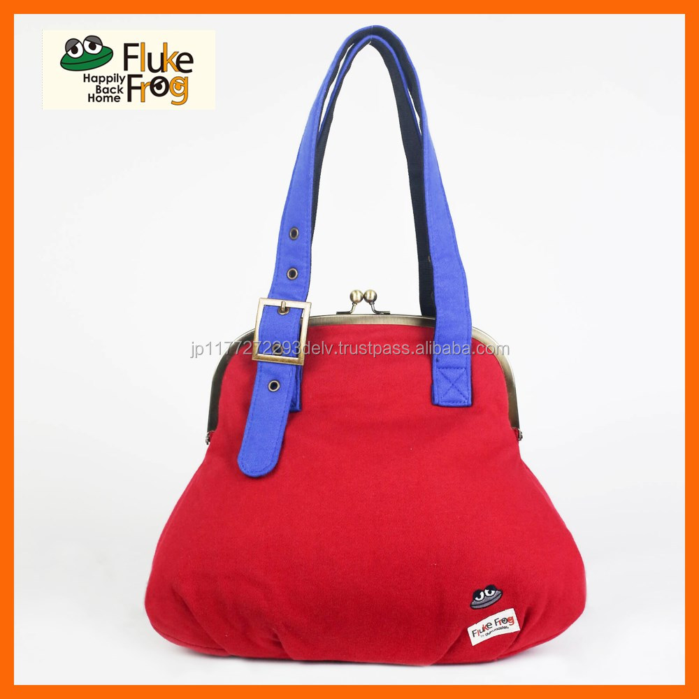 Various colors of large clasp tote bags for women with adjustable belt