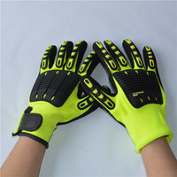 Kong Cut Resistant Impact Protection Gloves - Hi Vis Green/Yellow - Xlarge - Oil and Gass Industry Safety Gloves impact gloves