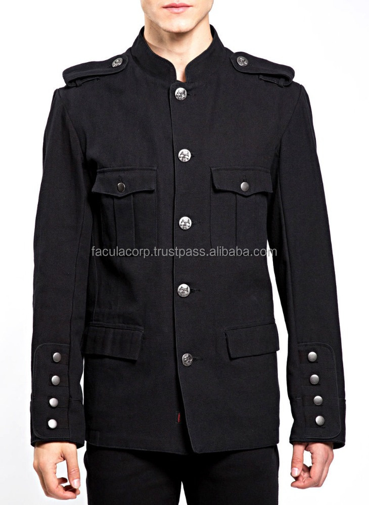 Gothic Black MILITARY ARMY BAND LEADER PARADE ROCKER GOTH EMO JACKET COATFC-2940