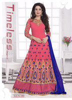 Latest Exclusive Ethnic Semi- Stitiching Indian Latest Pink color Bollywood Designer Suit, Fabric designer Chiffon Salwar Suit