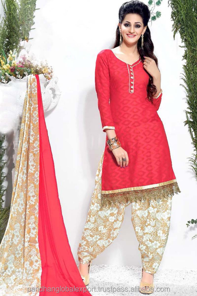 Jaquard Wholesale Unstitched Salwar Kameez Below Knee Length Patiala Salwar Kameez Low Price Dress Material Catalogue Exporter
