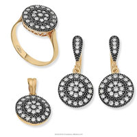 Diamond Design Turkish Sterling Silver 925 Jewellery Set