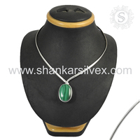 Beautiful Green Malachite Necklace 925 Sterling Silver Jewelry Natural Gemstone Silver Jewelry Exporter