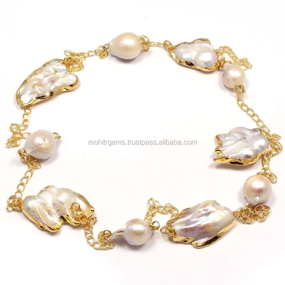 Long Endless Gold Plated Barque Pearl With Chain Long Chain Necklace Jewelry
