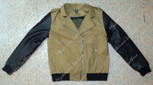 Ladies Khaki Motorcycle Denim Jacket with Leather Sleeves, CE Body Armours and Inside Protective Fabric Linning