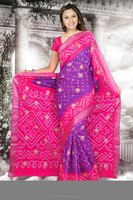 Kala Sanskruti Pure Silk saree with work in Dark Pink and Dark Purple color.