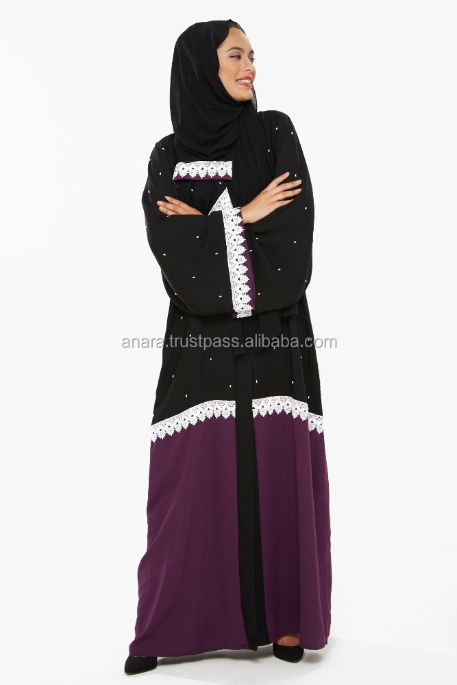 High quality Islamic clothing beautiful lace and hand work due colored design abaya