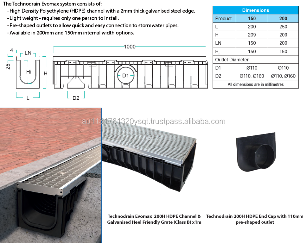 200mm x 1000mm Channel + Class B Galvanised Grate (HEEL SAFE)