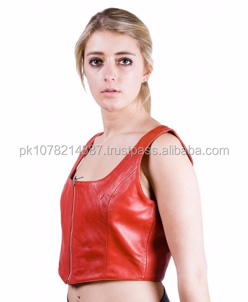 NEW 2015 BLACK BONDAGE RED LEATHER WOMEN'S TOPS SOFT LEATHER MATERIAL