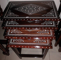 Coffee Table Set Four Piece Plastic Inlayed Design
