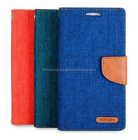leather diary phone case Mercury Canvas leather case (Blue Camel)