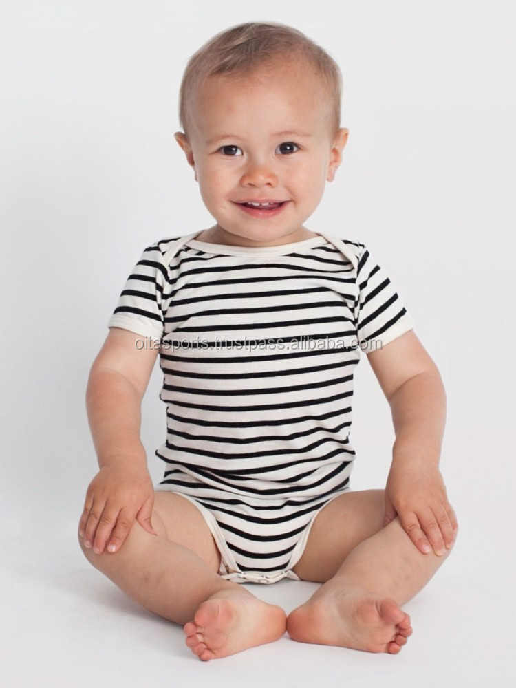 infant stripe short sleeve one-piece, unisex baby 100% cotton one piece lap shoulder bodysuit