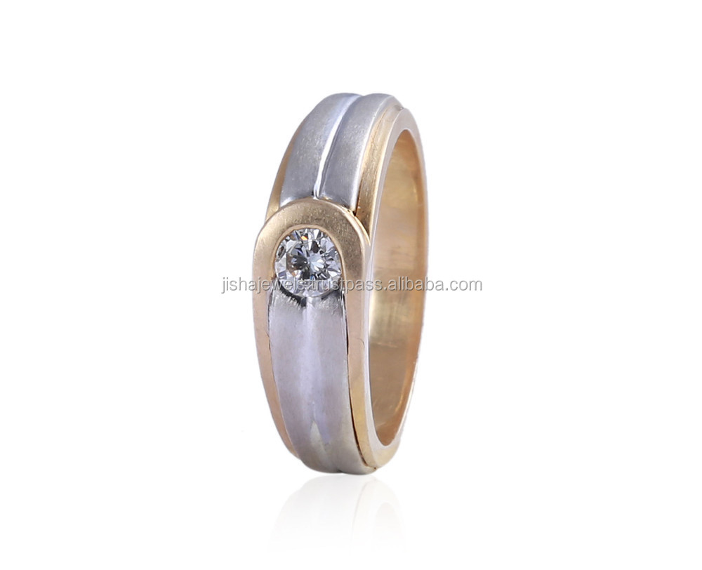 G COLOR 0.25 CTS NATURAL DIAMOND MEN'S BAND RING IN SOLID BIS HALLMARK 14KT TWO-TONE GOLD - WHOLESALE PRICE