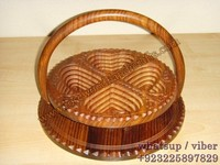 Wooden Collapsible 4 Comparments Basket / Wooden Spring Basket