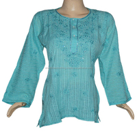 Womens Shot Cotton Embroidered Tunic Shop Now