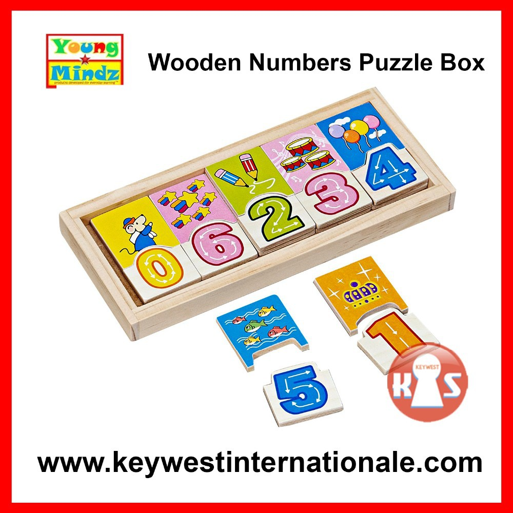 Young Mindz Wooden Numbers Puzzle Box