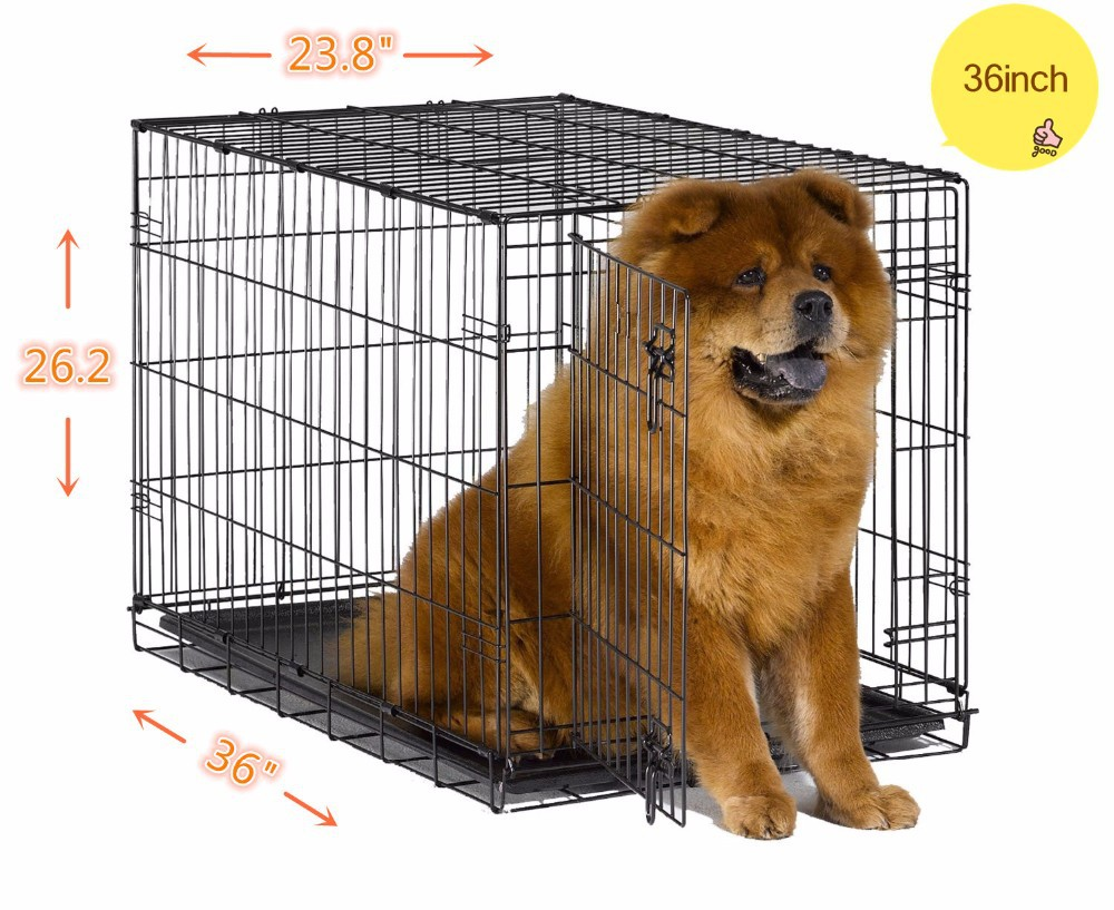 Pet folding Crates Puppy Dog Cat metal foldable cages 36 inch with handle