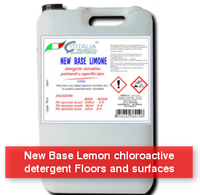 New Base Lemon - New Base Lemon chloroactive detergent Floors and surfaces. Remove stains and greasy, soapy residue - SUPERECO