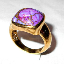 Purple Copper Turquoise Casting Brass Gold Plating Wedding Women Rings - BSR004