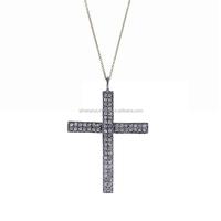 925 Sterling Silver Pave Diamond Christian Cross Pendant Necklace Wholesale Diamond Pendant Jewelry Supplier