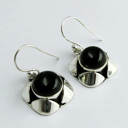 Amazing Black Onyx Round Shape 925 Sterling Silver Earring, Gemstone Silver Jewelry India, Silver Jewelry Exporter
