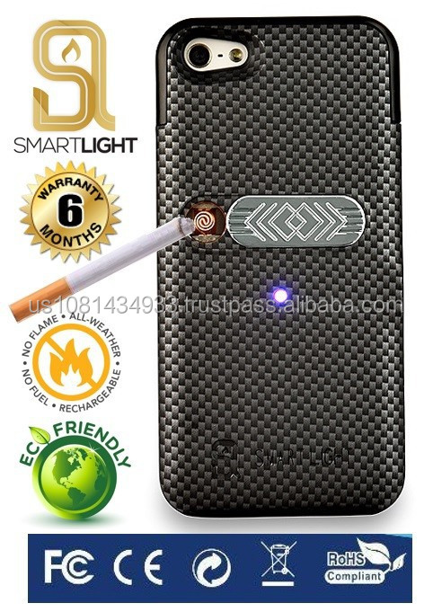 Carbon case for Samsung S6 with ecological cigarette lighter