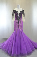 Elegance long sleeve mermaid purple evening dress by Lis Bridal