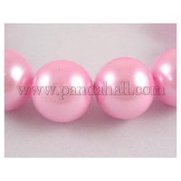 "32"" Glass Pearl Beads Strands, Pearlized, Round, Pink, about 12mm in diameter, hole: 1mm, about 70 pcs/strand"