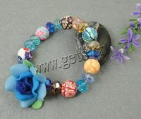 Polymer Clay Crystal Bracelets with Polymer Clay Flower 31x19mm Length:7.5 Inch Sold By Strand